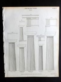 Rees 1820 Antique Print. Architecture 15 Doric Columns
